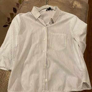 Theory white shirt with blue pinstripes